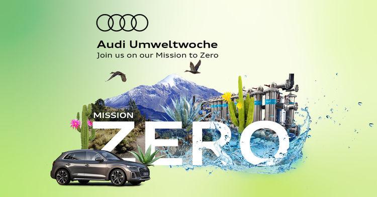 """Unter dem Motto """"Join us on our mission to zero"""" richtet Audi vom 19. bis 23. Juli 2021 die """"Audi Umweltwoche"""" aus."""