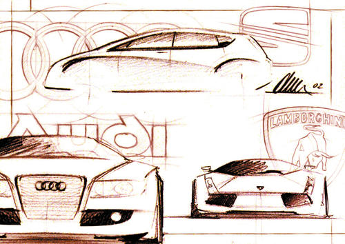 The Audi brand group united in a design sketch