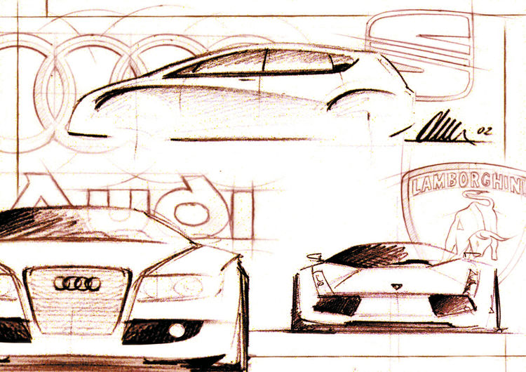 Die Audi Markengruppe vereint in einer Designskizze