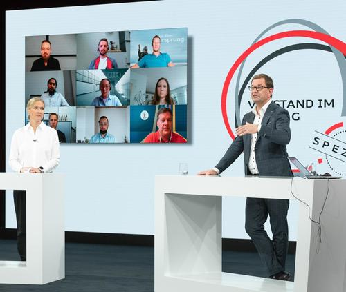 Silja Pieh, Chief Strategy Officer, AUDI AG and Markus Duesmann, Chairman of the Board of Management and Board of Management Member for Product Lines, AUDI AG