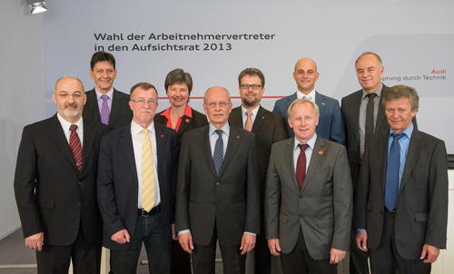 Ingolstadt, 17. April 2013 – Auf der heutigen Delegiertenversammlung im Audi Sportpark wählten 102 Wahlmänner und -Frauen der Audi-Beschäftigten ihre Interessensvertreter in den Audi Aufsichtsrat.