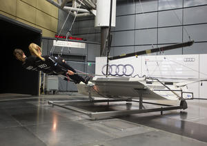Susann Beucke (left) and Tina Lutz in the Audi wind tunnel in Ingolstadt
