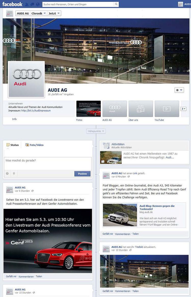 Audi Kommunikation jetzt auf Facebook