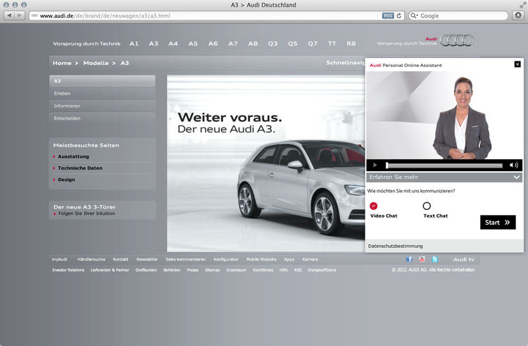 "Audi named a ""Digital Brand Champion 2012"""