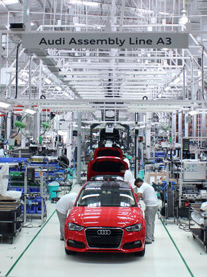 The Audi A3 Sedan rolls out of the Aurangabad plant