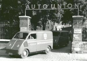 Das erste Fahrzeug, das aus der Ingolstädter Auto Union Produktion lief: Der DKW F 89 L Schnellaster.