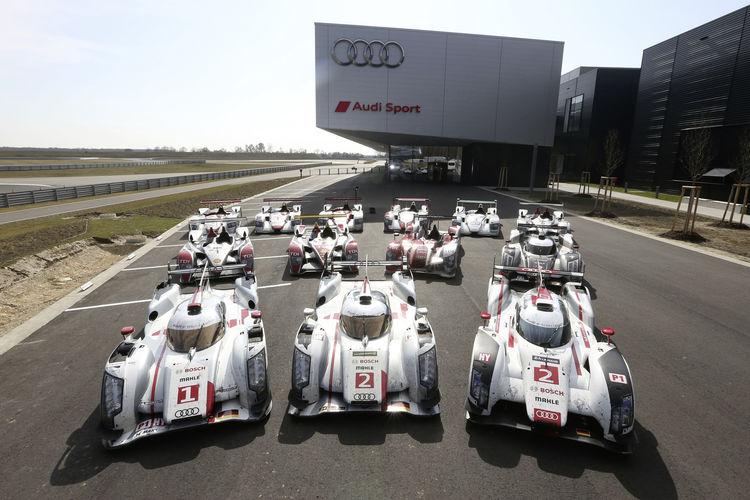 Erstmals vereint: die 13 Le-Mans-Sieger von Audi
