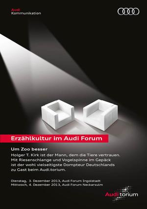 """Audi.torium """"Um Zoo besser"""":  Tiertrainer mit Schlange im Gepäck"""