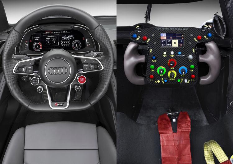 Cockpitansicht Audi R8 und Audi R18 e-tron quattro