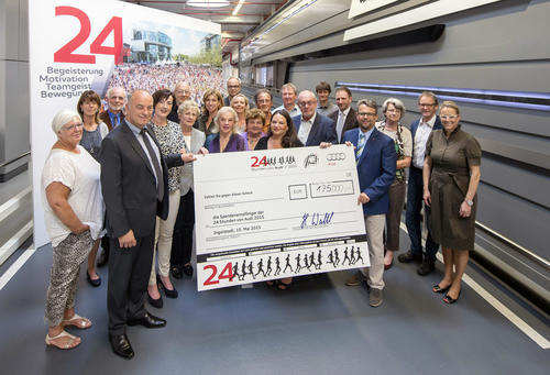 "The efforts of about 4.000 Audi-employees during the ""24 hours at Audi"" charity run in May 2015 paid off:"