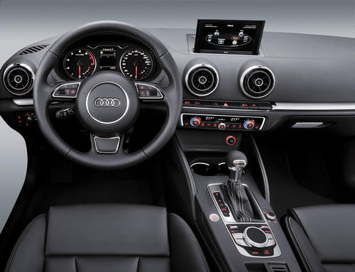 Audi A3 interior with MMI-terminal, -display, multifunction steering wheel