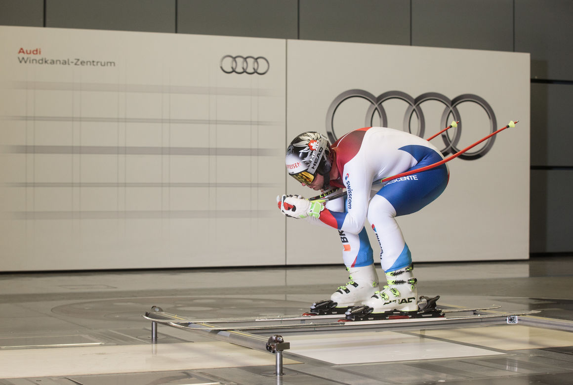 Stormy day: Swiss national ski team at the wind tunnel of AUDI AG