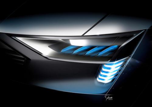 Audi e-tron quattro concept – Scheinwerfer mit OLED-e-tron-Lichtsignatur