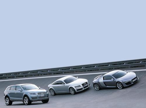 Drei aufsehenerregende Audi Studien auf einen Blick: Audi Pikes Peak quattro, Audi Nuvolari quattro und Audi Le Mans quattro (von links)