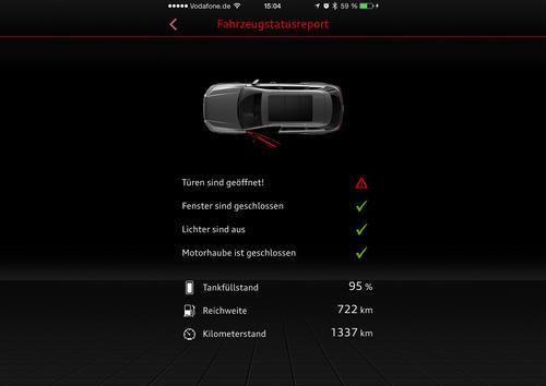 Audi MMI connect App Fahrzeugstatusreport