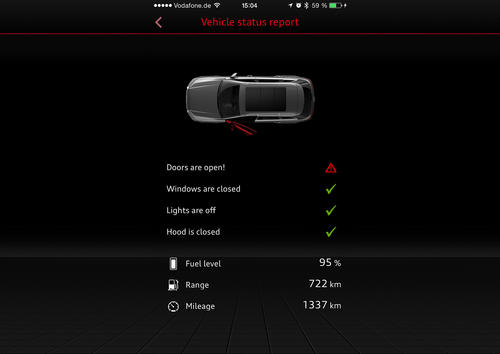 Audi MMI connect App Vehicle status report