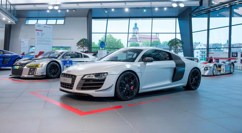 """Born on the track. Built for the road"" – Die Audi R8-Sonderausstellung im Audi Forum Neckarsulm vom 17. September bis 15. Oktober 2015."