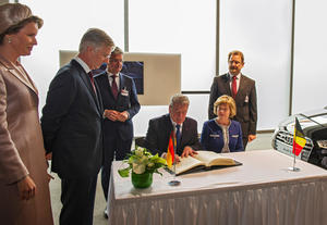 German Federal President Joachim Gauck and the Belgian royal couple visit the Audi plant in Brussels