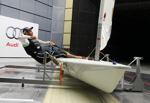 Sailing star Philipp Buhl in the Audi wind tunnel