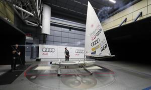 Sailing star Philipp Buhl in the Audi wind tunnel