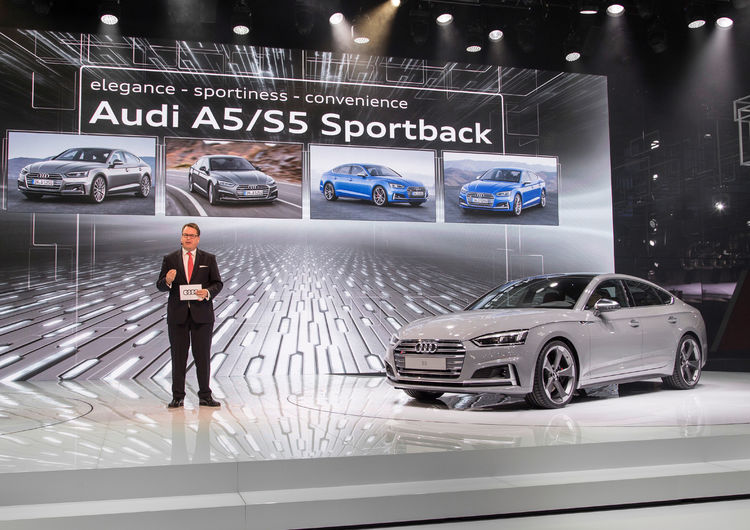 Dr. Dietmar Voggenreiter (Member of the Board of Management of AUDI AG for Sales and Marketing) in front of the new Audi S5 Sportback at the Paris Motor Show 2016