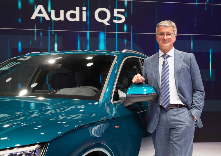 Prof. Rupert Stadler (Chairman of the Board of Management of AUDI AG) in front of the new Audi Q5 at the Paris Motor Show 2016