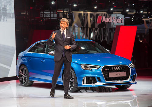 Stephan Winkelmann (CEO quattro GmbH) in front of the new Audi RS 3 Sedan, Paris Motor Show 2016