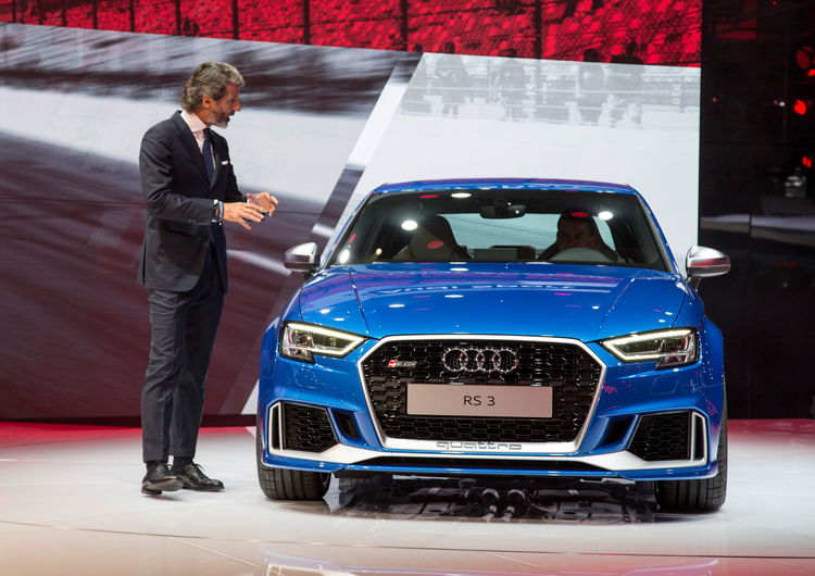 Stephan Winkelmann (CEO Audi Sport GmbH) in front of the new Audi RS 3 Sedan, Paris Motor Show 2016