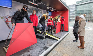 Die Audi 360° Virtual Reality Wintersport experience am Audi Forum Ingolstadt.