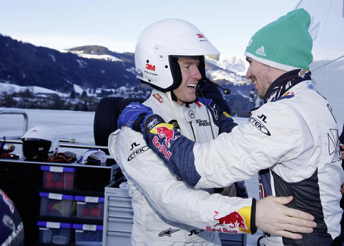 "Actiongeladene Abwechslung im ""Home of quattro"" in Kitzbühel: Ted Ligety (links) und Felix Neureuther"