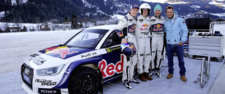 "Actiongeladene Abwechslung im ""Home of quattro"" in Kitzbühel: Mattias Ekström, Ted Ligety, Felix Neureuther und Timo Scheider (von links)"