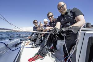 Tom Kristensen, Markus Siebrecht, Leiter Marketing Deutschland der AUDI AG, Robby Pyttel vom Audi-Windkanal sowie Skipper Malte Kamrath