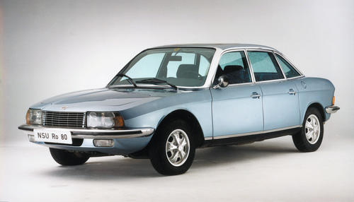 """Five million cars produced at the Audi Neckarsulm plant. Pictured: Offical photo of the NSU Ro 80, 1967 - 1977, 1000 cc chamber volume, 115 hp, world´s first production car with twin-rotor Wankel engine, pioneering design, first German vehicle to be awarded the title """"Car of the Year"""", in 1967"""