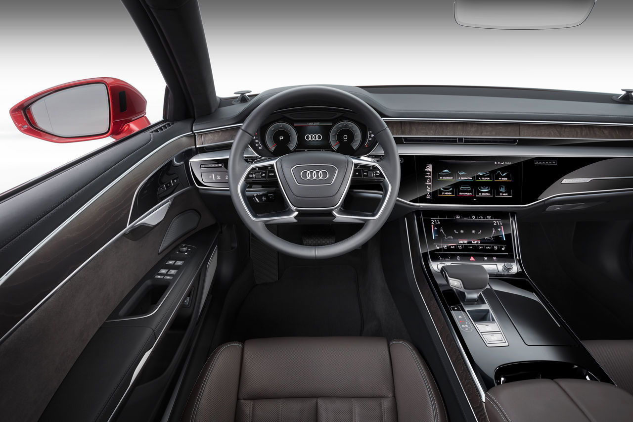 Leather Look Black /& Grey Vented Steering Wheel Cover for Audi A8 All Years