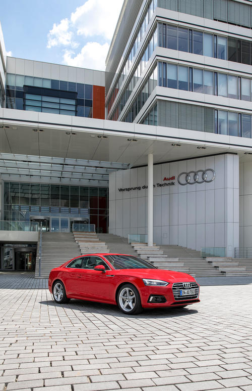 """Audi S5 Coupé at the """"SE Building""""  of the Technical Development at the Headquarters in Ingolstadt"""