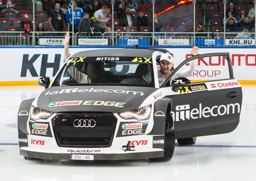 Reinis Nitišs drives in Arena Riga