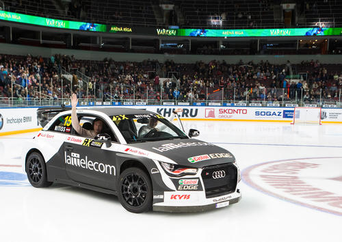 Reinis Nitišs drives in Arena Riga