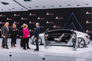 International Motor Show Frankfurt, Germany: Chancellor Dr. Angela Merkel visits the exhibition of AUDI AG