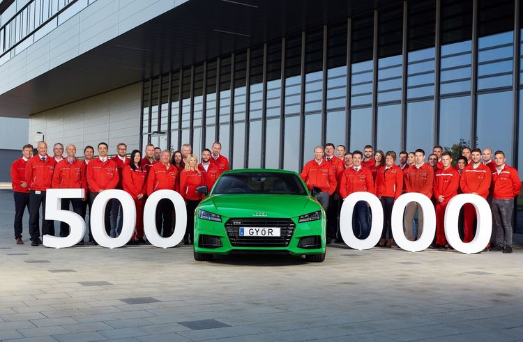 "Production milestone at the new car factory of Audi Hungaria: half a million Audi cars ""made in Győr"""