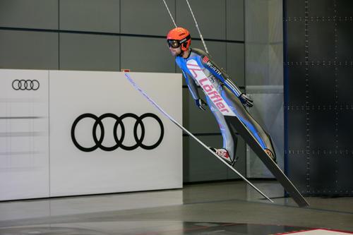 DSV ski jumpers in the Audi wind tunnel