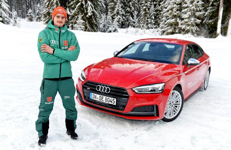 German ski jumpers enjoy Audi driving experience