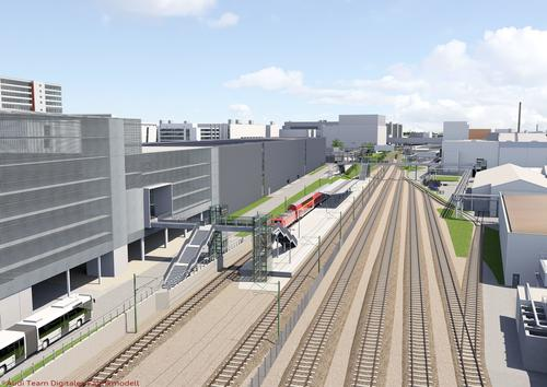 "Aniamtion künftiger Bahnhalt ""Ingolstadt Audi"""