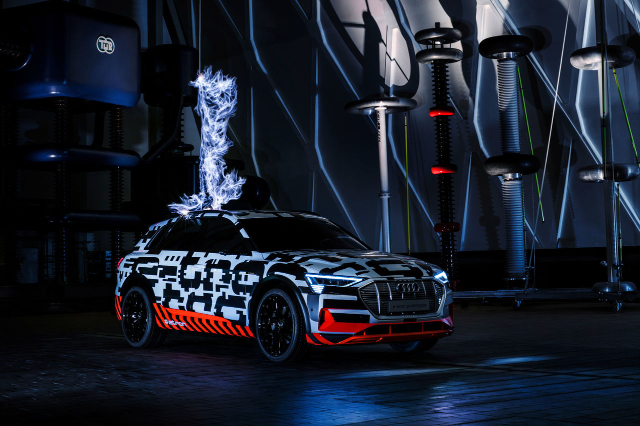 Ultra-high voltage:  ||The Audi e-tron prototype in a Faraday cage