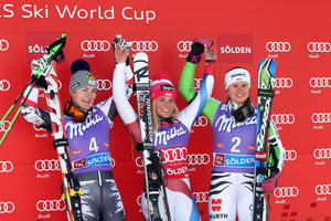 Kathrin Zettel, Lara Gut and Viktoria Rebensburg