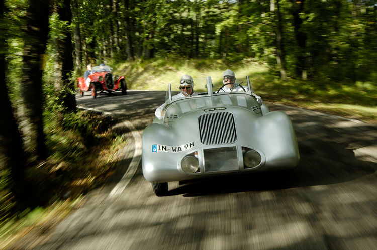 Audi Tradition in an Auto Union Silver Arrow  at the silver jubilee