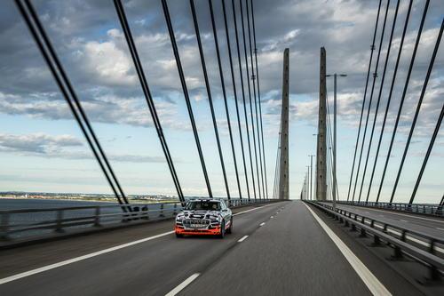 The Audi e-tron prototype on the Öresund Bridge