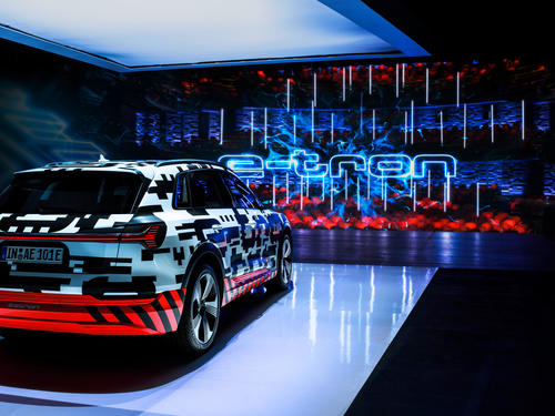 The Audi e-tron prototype on the stage in the Royal Danish Playhouse in Copenhagen