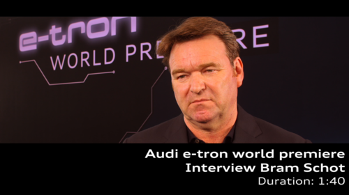 Audi e-tron world premiere interview with Bram Schot