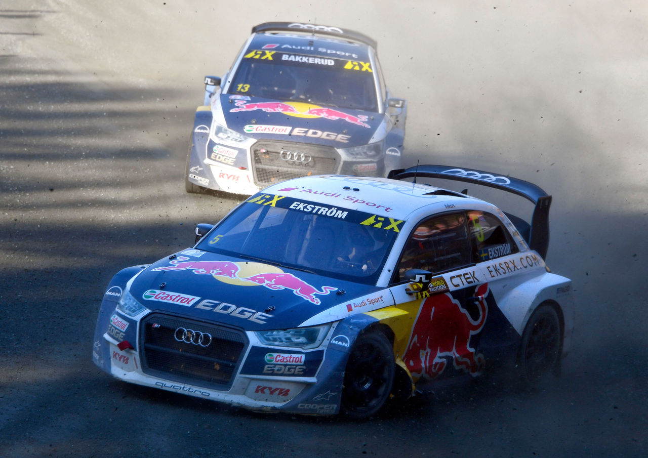Mattias Ekström and Andreas Bakkerud on podium in Rallycross round on German home soil