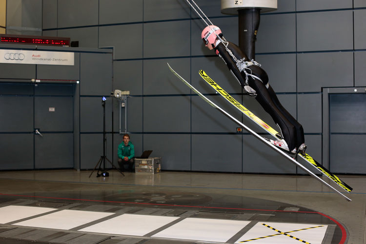 DSV men ski jumpers visit the Audi wind canal center